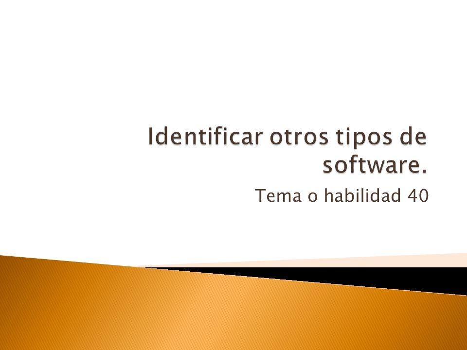 Identificar otros tipos de software.