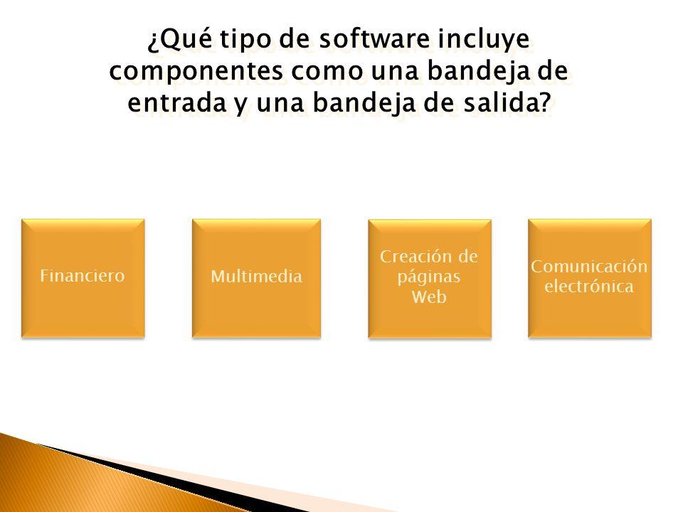 ¿Qué tipo de software incluye componentes como una bandeja de entrada y una bandeja de salida