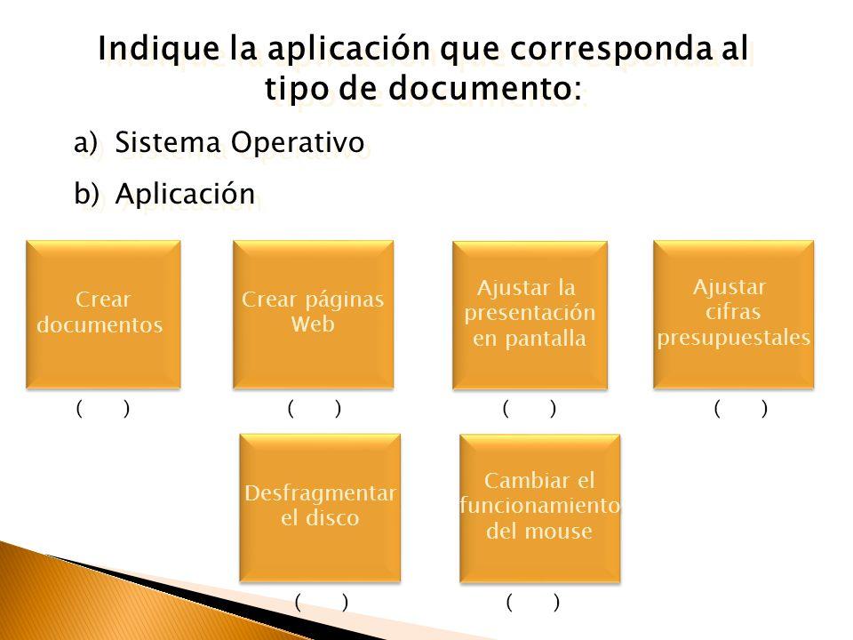 Indique la aplicación que corresponda al tipo de documento: