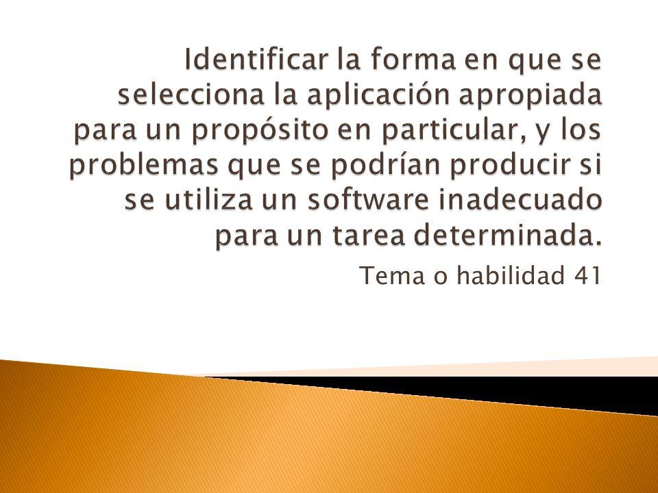 Identificar la forma en que se selecciona la aplicación apropiada para un propósito en particular, y los problemas que se podrían producir si se utiliza un software inadecuado para un tarea determinada.