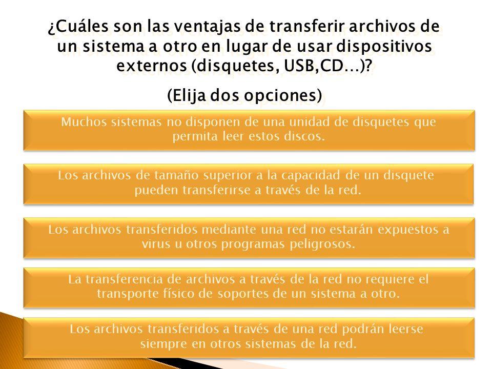 ¿Cuáles son las ventajas de transferir archivos de un sistema a otro en lugar de usar dispositivos externos (disquetes, USB,CD…)