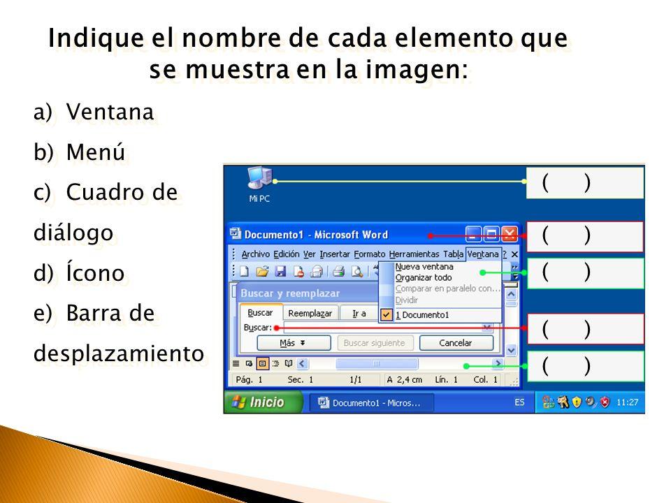 Indique el nombre de cada elemento que se muestra en la imagen: