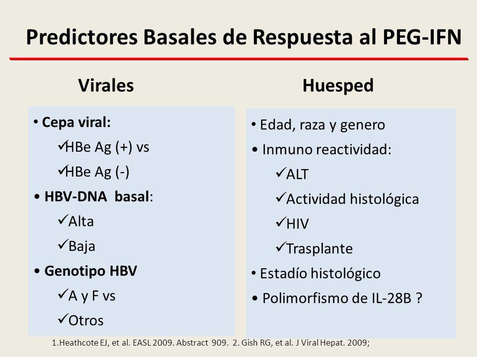 Predictores Basales de Respuesta al PEG-IFN