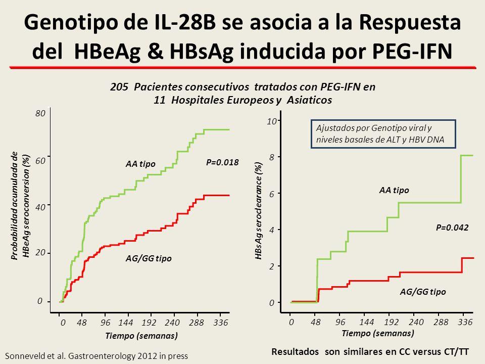 Genotipo de IL-28B se asocia a la Respuesta del HBeAg & HBsAg inducida por PEG-IFN
