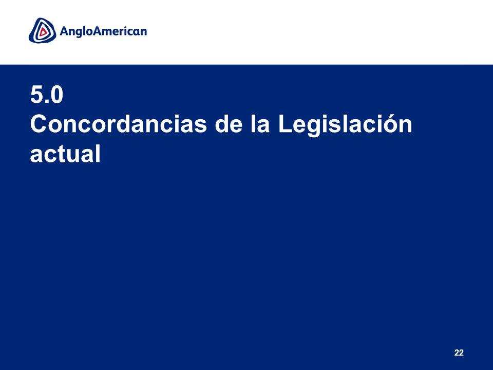 5.0 Concordancias de la Legislación actual