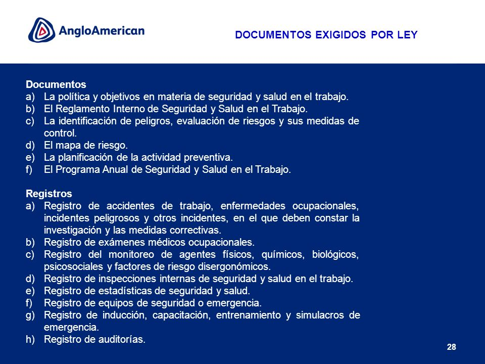 DOCUMENTOS EXIGIDOS POR LEY