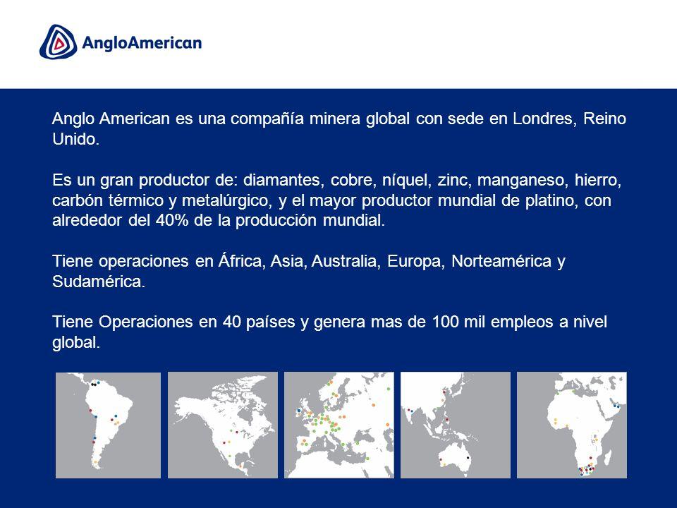 Anglo American es una compañía minera global con sede en Londres, Reino Unido.