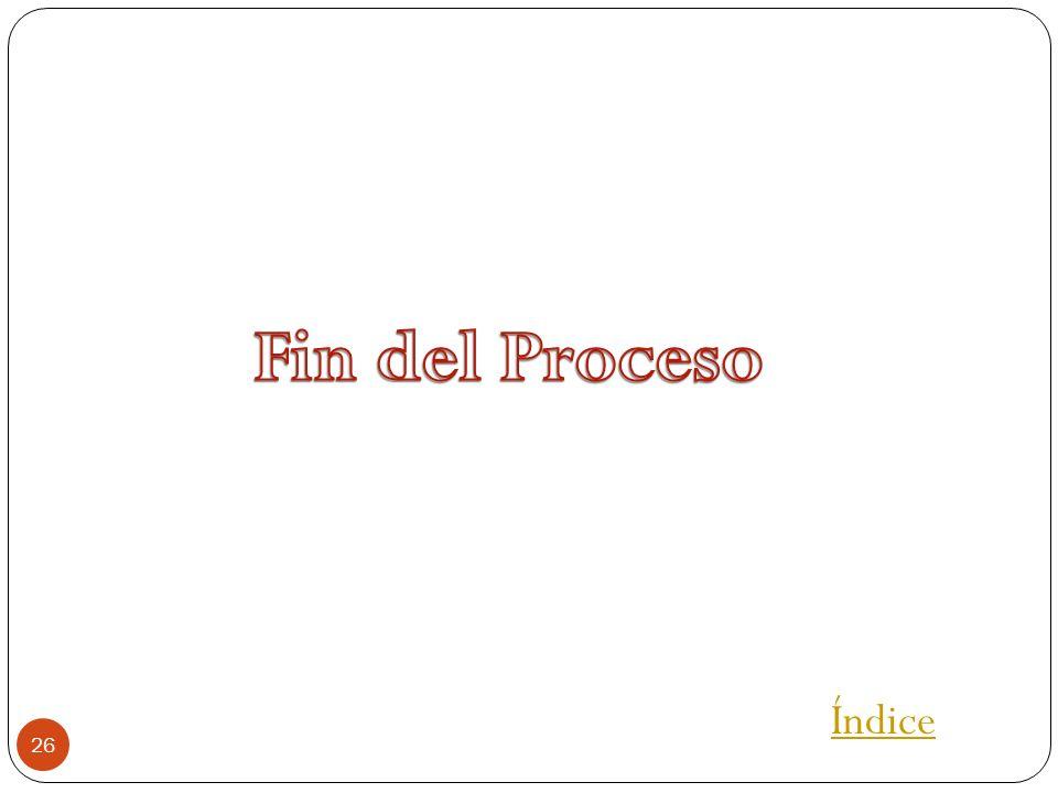 Fin del Proceso Índice