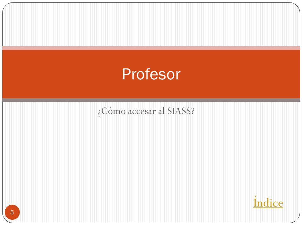 Profesor ¿Cómo accesar al SIASS Índice