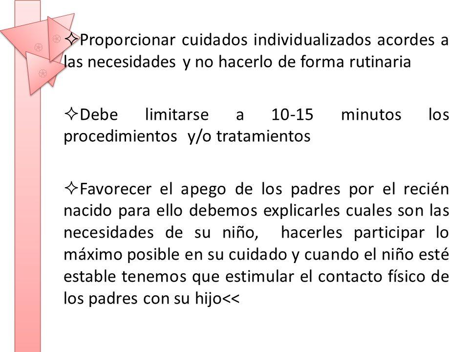Debe limitarse a 10-15 minutos los procedimientos y/o tratamientos