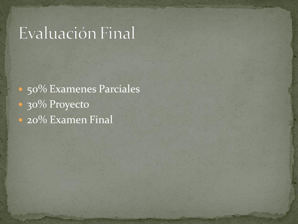 Evaluación Final 50% Examenes Parciales 30% Proyecto 20% Examen Final