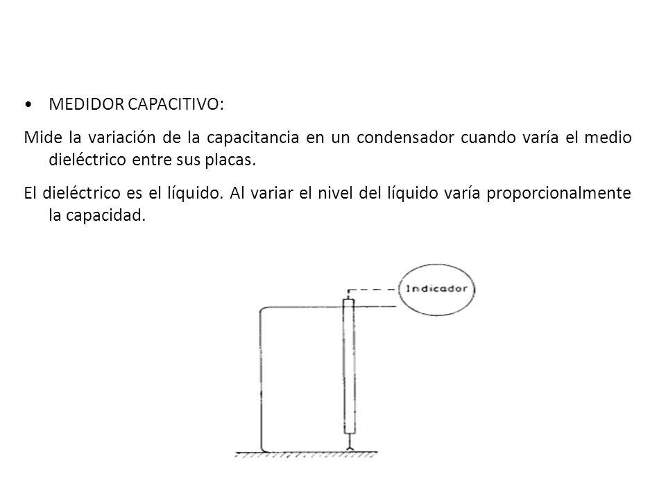 MEDIDOR CAPACITIVO: Mide la variación de la capacitancia en un condensador cuando varía el medio dieléctrico entre sus placas.