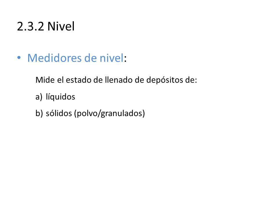 2.3.2 Nivel Medidores de nivel: