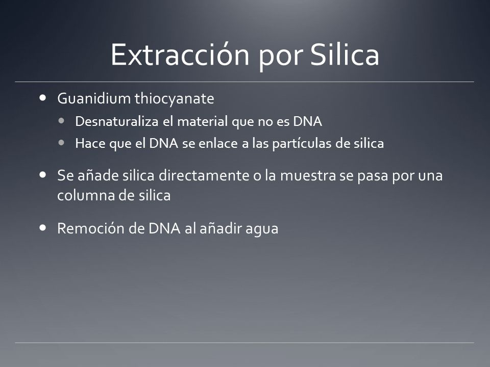 Extracción por Silica Guanidium thiocyanate