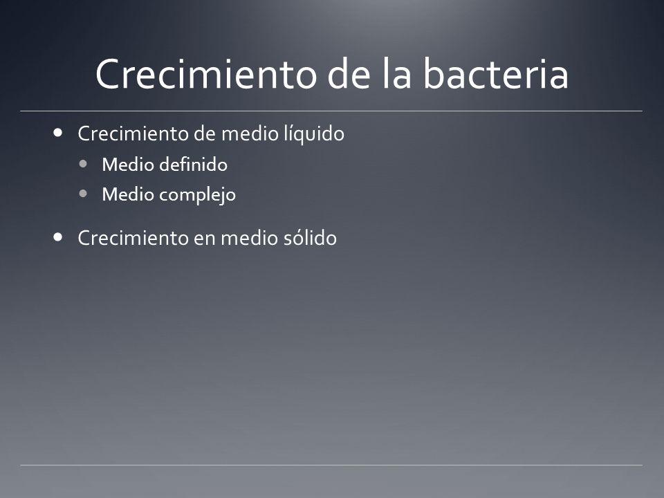 Crecimiento de la bacteria