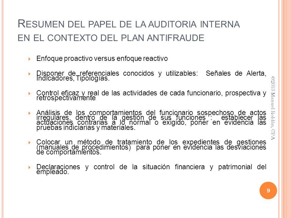 Resumen del papel de la auditoria interna en el contexto del plan antifraude