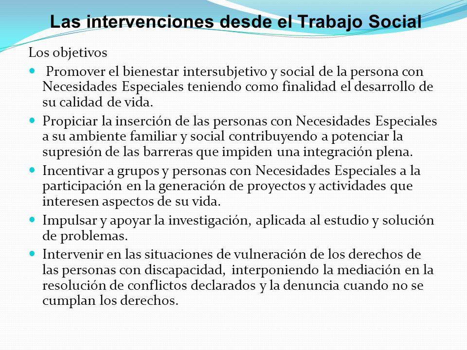 Las intervenciones desde el Trabajo Social