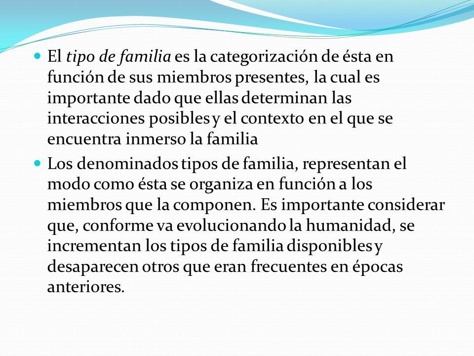 El tipo de familia es la categorización de ésta en función de sus miembros presentes, la cual es importante dado que ellas determinan las interacciones posibles y el contexto en el que se encuentra inmerso la familia