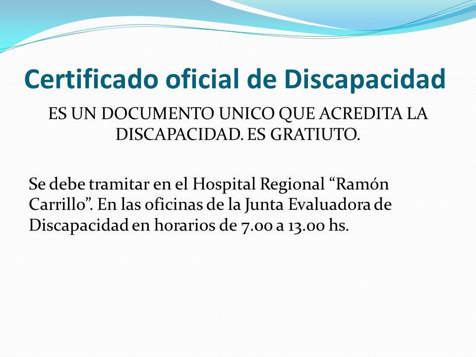 Certificado oficial de Discapacidad