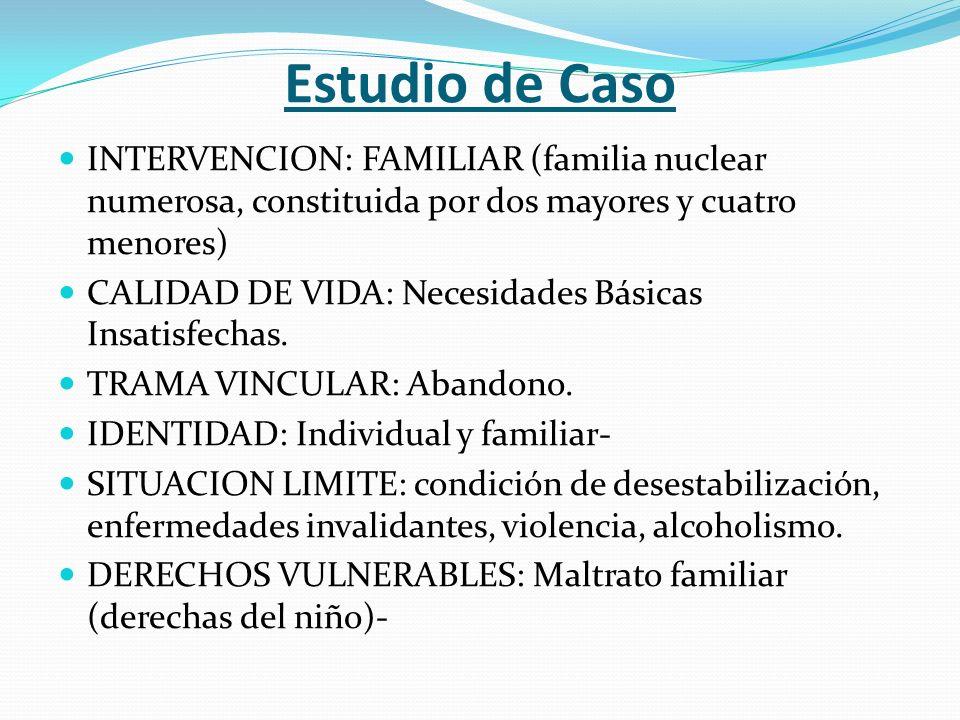 Estudio de Caso INTERVENCION: FAMILIAR (familia nuclear numerosa, constituida por dos mayores y cuatro menores)