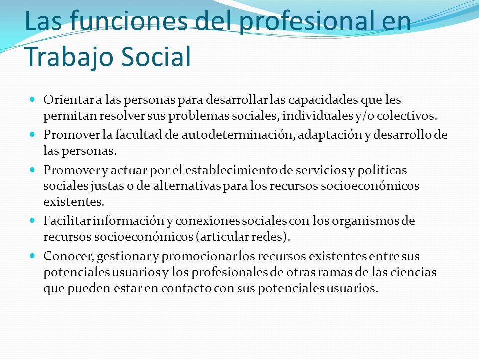 Las funciones del profesional en Trabajo Social