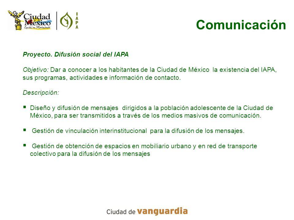 Comunicación Proyecto. Difusión social del IAPA