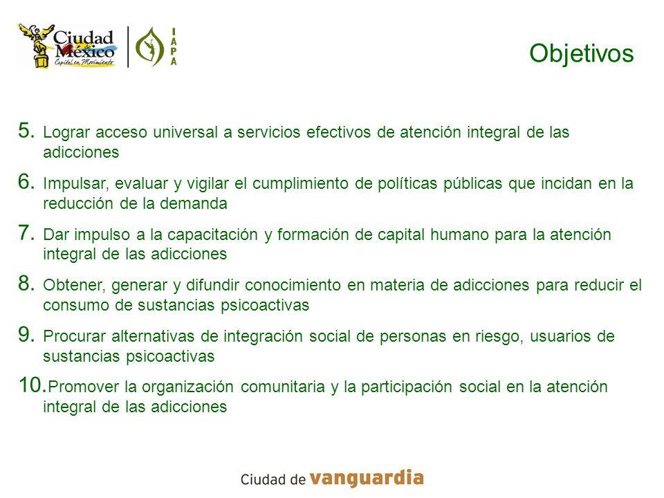 Objetivos Lograr acceso universal a servicios efectivos de atención integral de las adicciones.