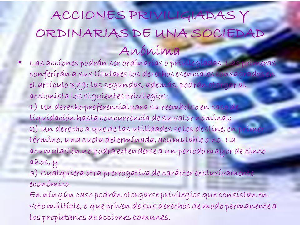 ACCIONES PRIVILIGIADAS Y ORDINARIAS DE UNA SOCIEDAD Anónima