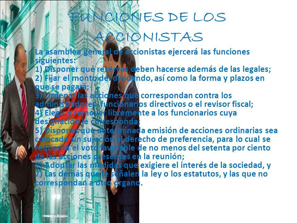 FUNCIONES DE LOS ACCIONISTAS
