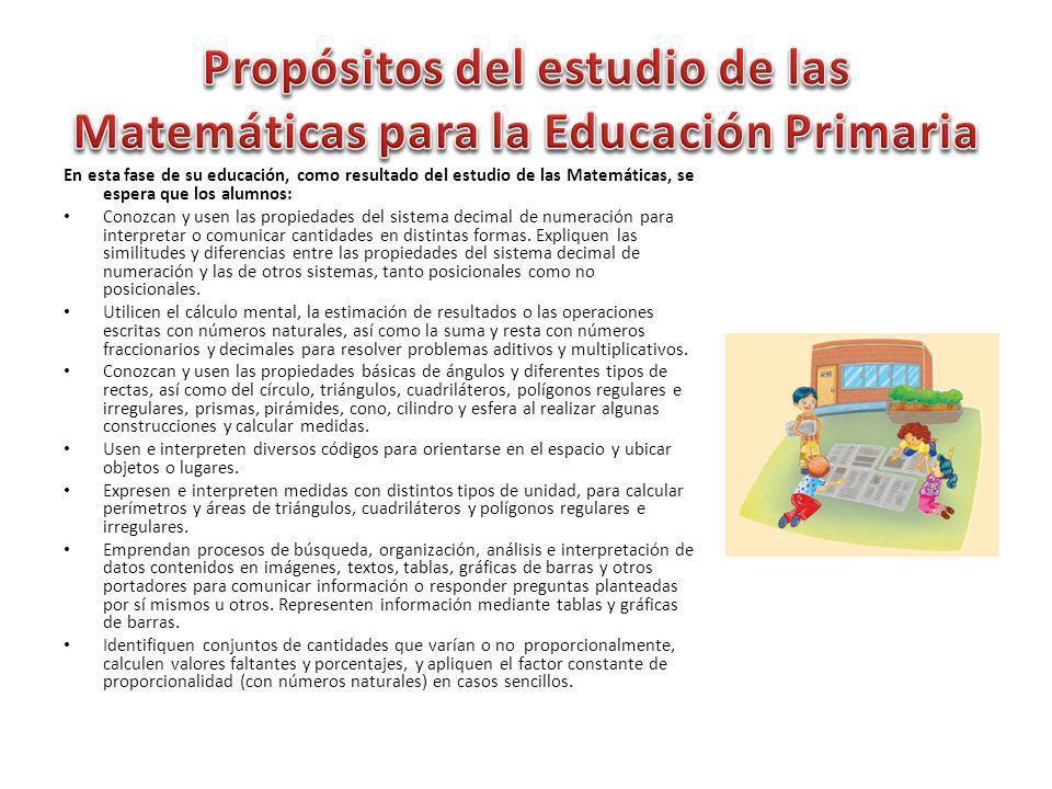Propósitos del estudio de las Matemáticas para la Educación Primaria