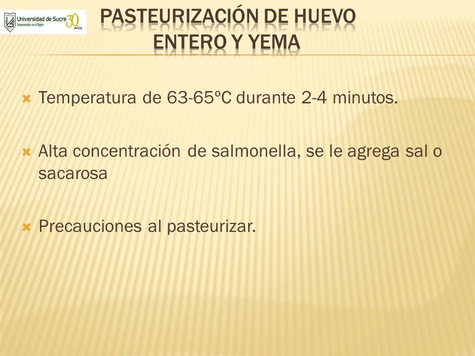 Pasteurización de huevo entero y yema