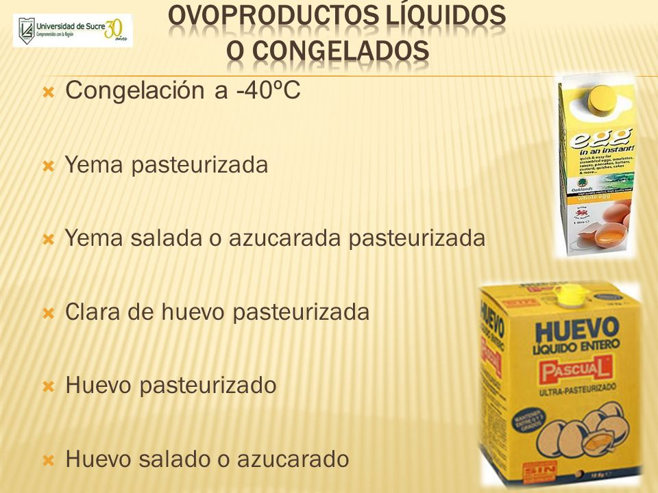 Ovoproductos líquidos o congelados