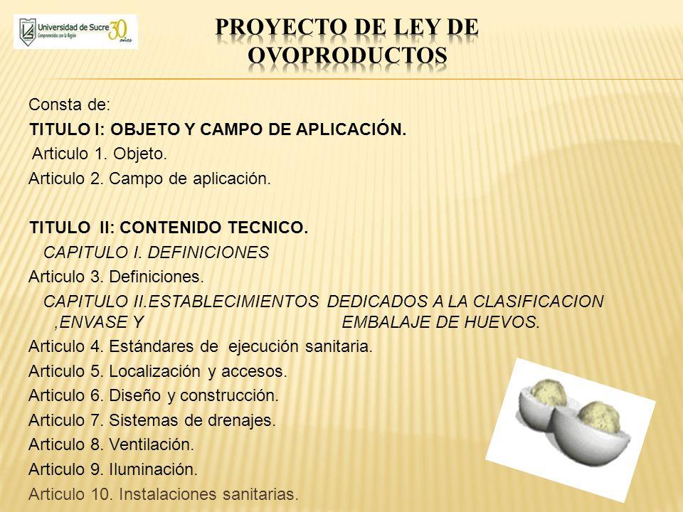 Proyecto de ley de ovoproductos