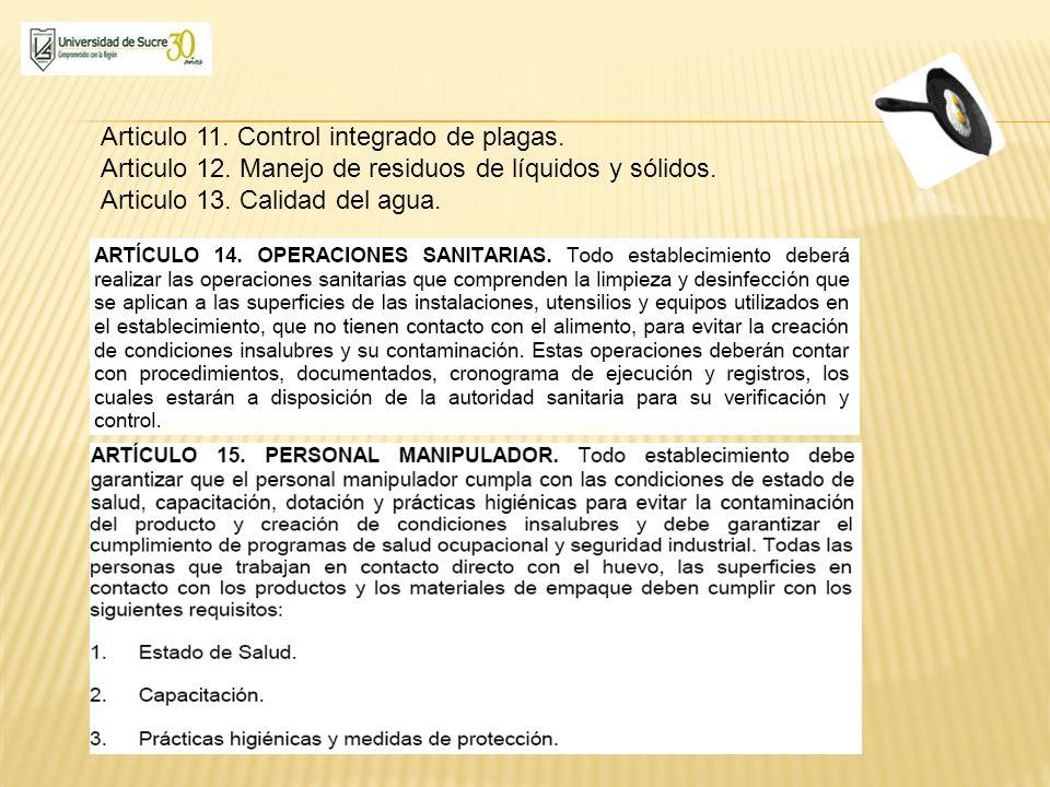 Articulo 11. Control integrado de plagas.