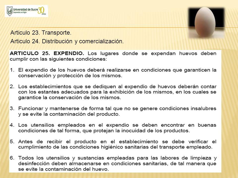 Articulo 23. Transporte. Articulo 24. Distribución y comercialización.