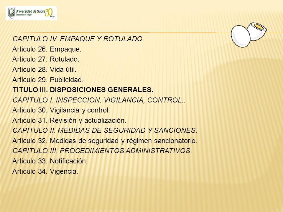 CAPITULO IV. EMPAQUE Y ROTULADO. Articulo 26. Empaque. Articulo 27