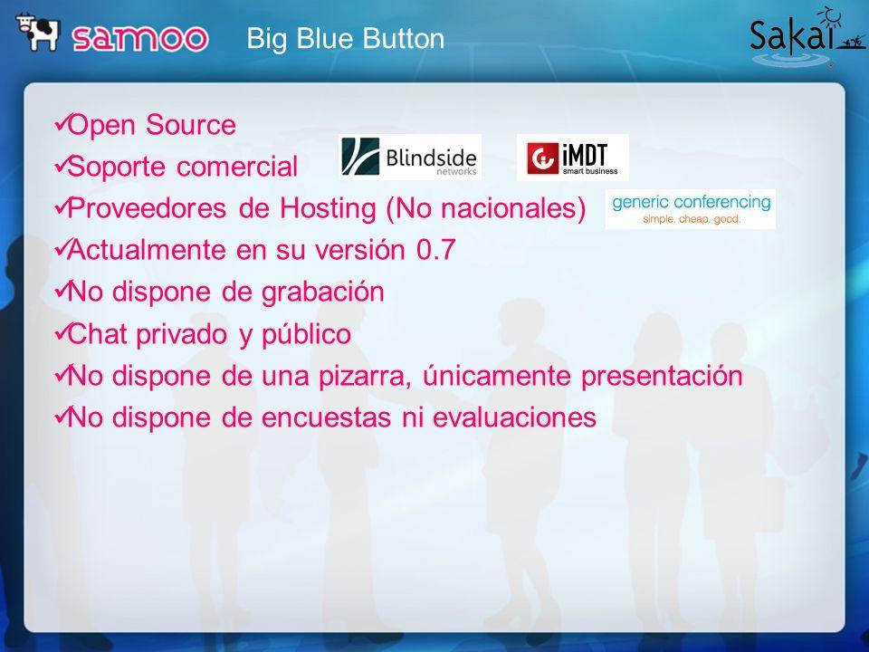 Big Blue ButtonOpen Source. Soporte comercial. Proveedores de Hosting (No nacionales) Actualmente en su versión 0.7.
