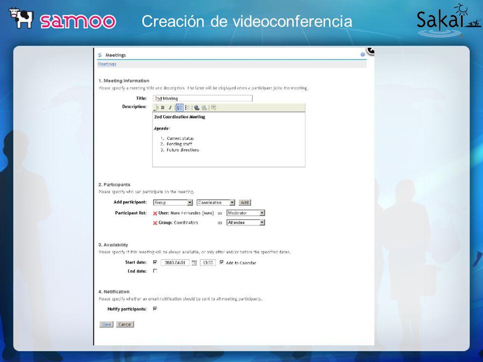 Creación de videoconferencia