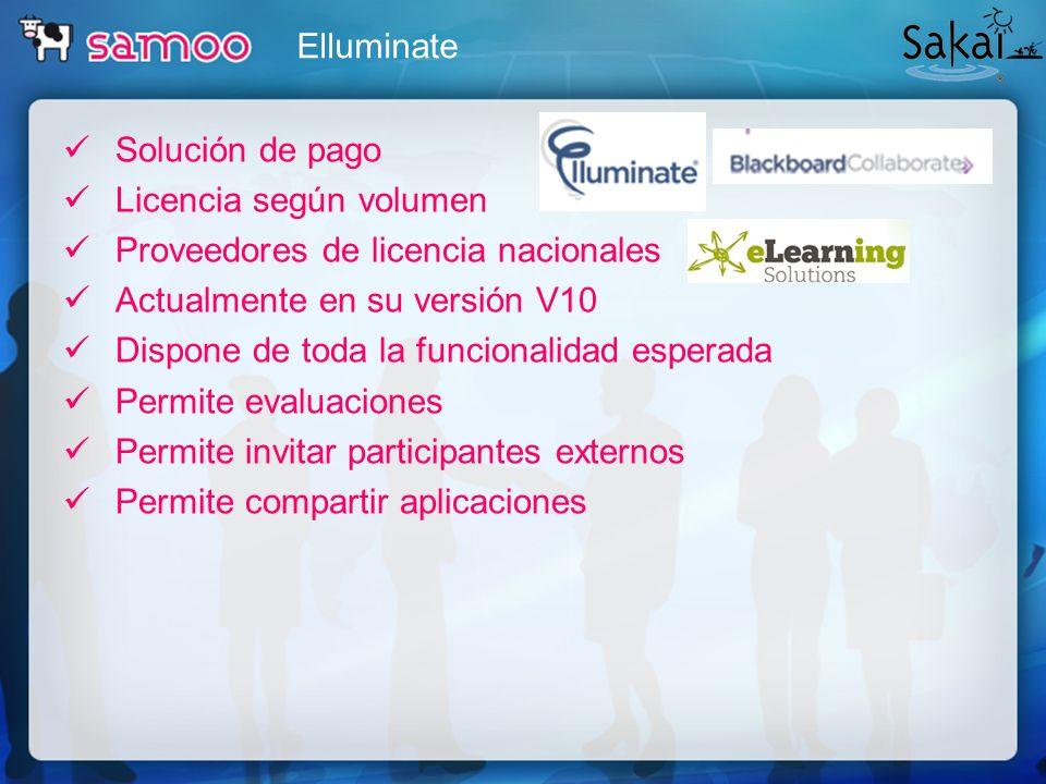 Elluminate Solución de pago. Licencia según volumen. Proveedores de licencia nacionales. Actualmente en su versión V10.
