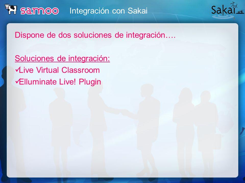 Integración con SakaiDispone de dos soluciones de integración…. Soluciones de integración: Live Virtual Classroom.