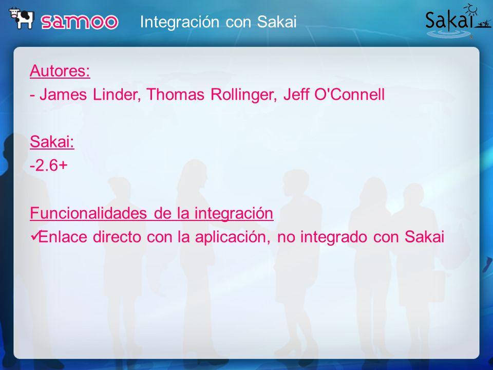 Integración con Sakai Autores: - James Linder, Thomas Rollinger, Jeff O Connell. Sakai: -2.6+ Funcionalidades de la integración.