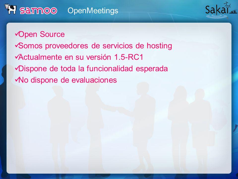 OpenMeetings Open Source. Somos proveedores de servicios de hosting. Actualmente en su versión 1.5-RC1.