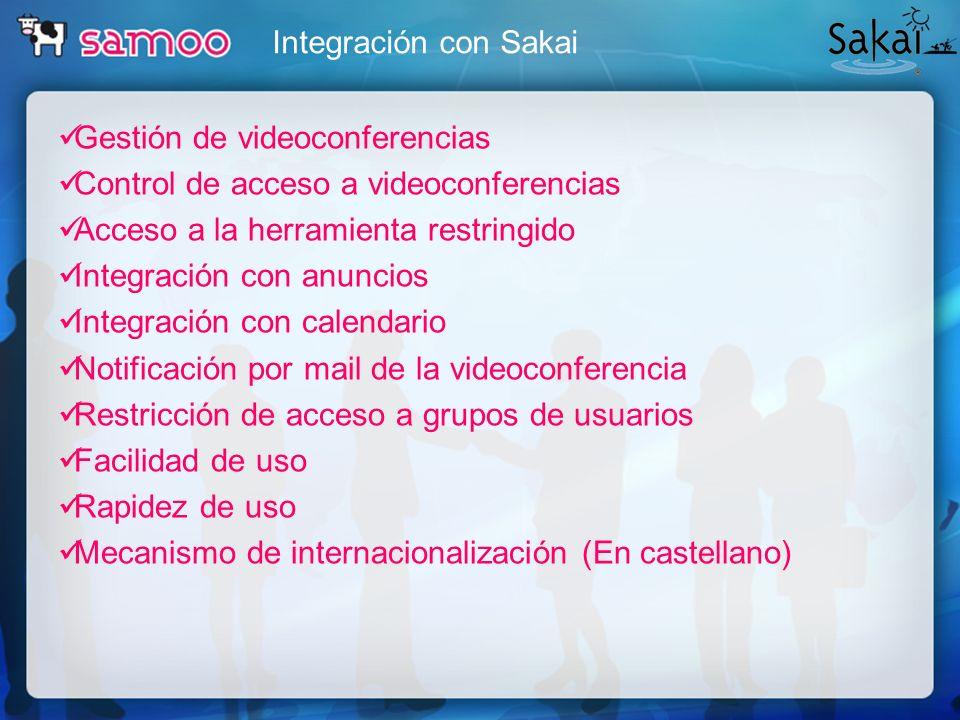 Integración con Sakai Gestión de videoconferencias. Control de acceso a videoconferencias. Acceso a la herramienta restringido.