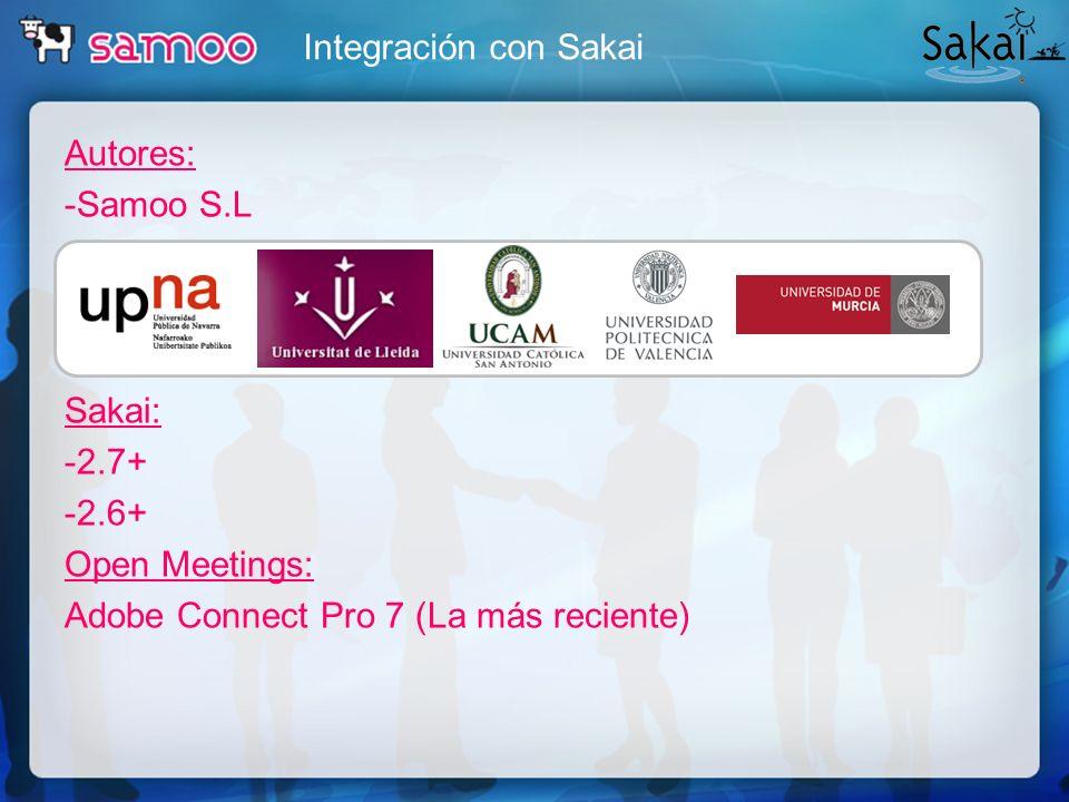 Integración con SakaiAutores: -Samoo S.L Sakai: -2.7+ -2.6+ Open Meetings: Adobe Connect Pro 7 (La más reciente)