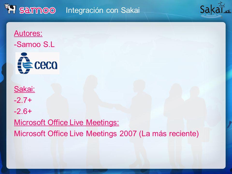 Integración con SakaiAutores: -Samoo S.L Sakai: -2.7+ -2.6+ Microsoft Office Live Meetings: Microsoft Office Live Meetings 2007 (La más reciente)