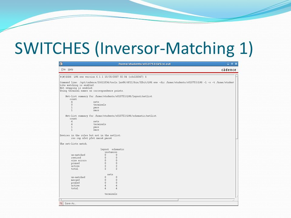 SWITCHES (Inversor-Matching 1)