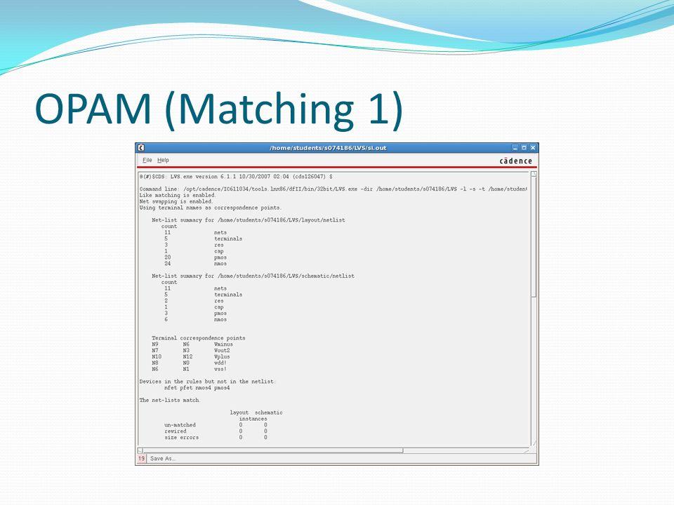 OPAM (Matching 1)
