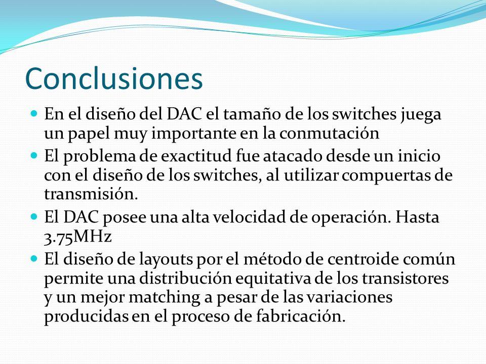 Conclusiones En el diseño del DAC el tamaño de los switches juega un papel muy importante en la conmutación.