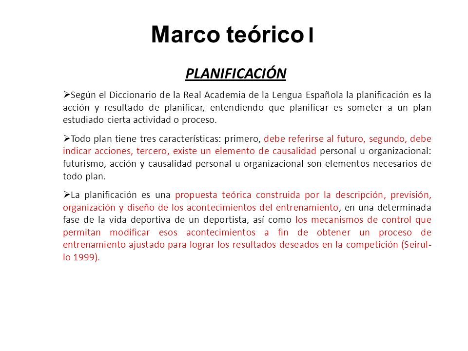 Marco teórico I PLANIFICACIÓN