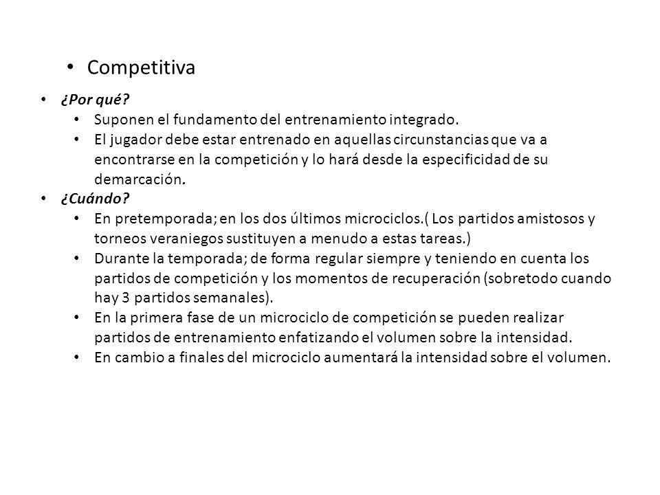 Competitiva ¿Por qué Suponen el fundamento del entrenamiento integrado.